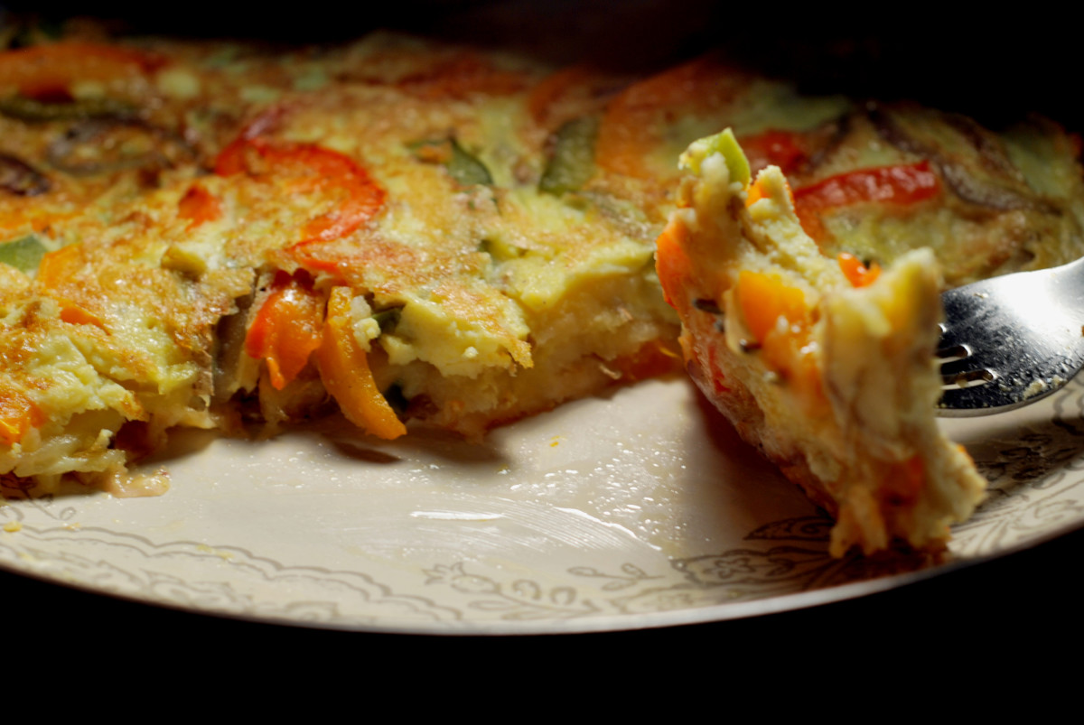 Roasted Red Pepper and Spinach Spanish Tortilla