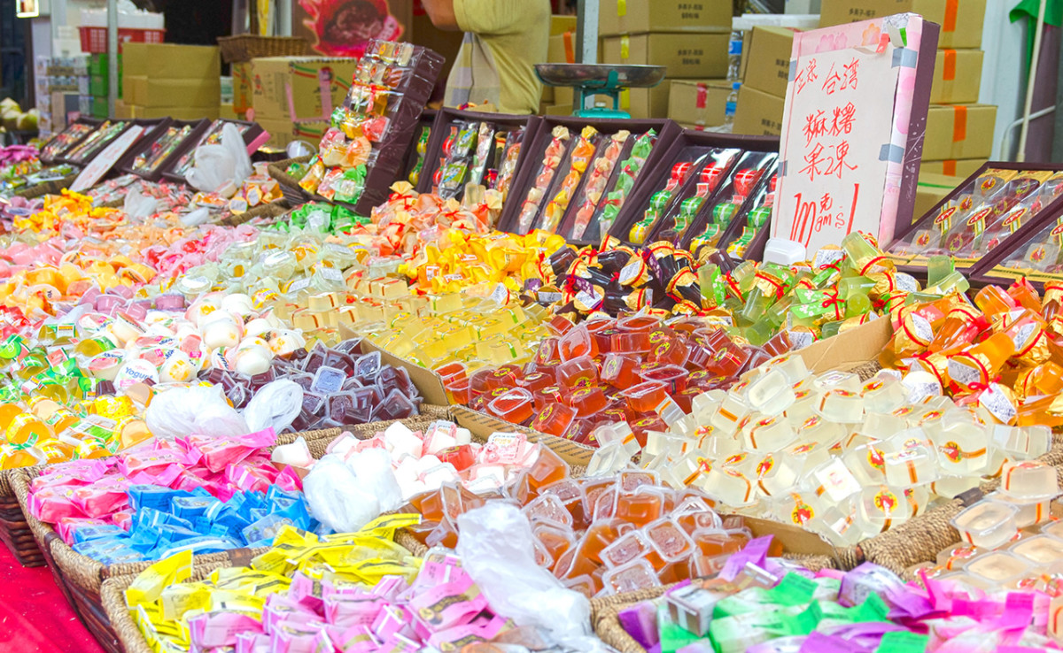 Fruit jellies stall during Chinese New Year in Singapore.