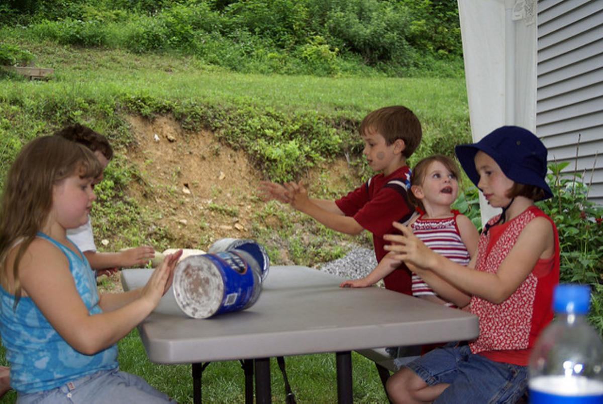 Kids Making Coffee-Can Ice Cream