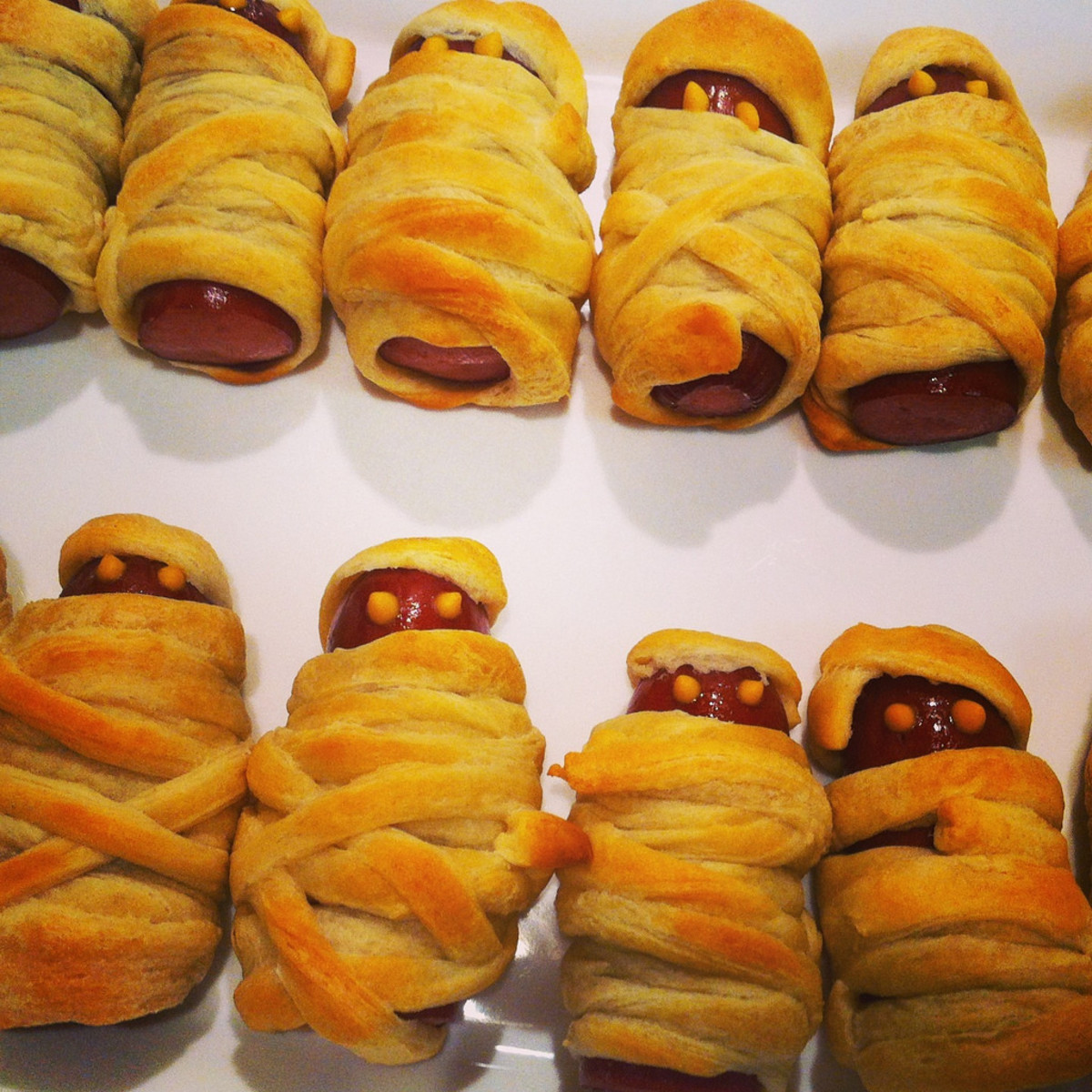 Mummy in a Crescent Roll for Halloween