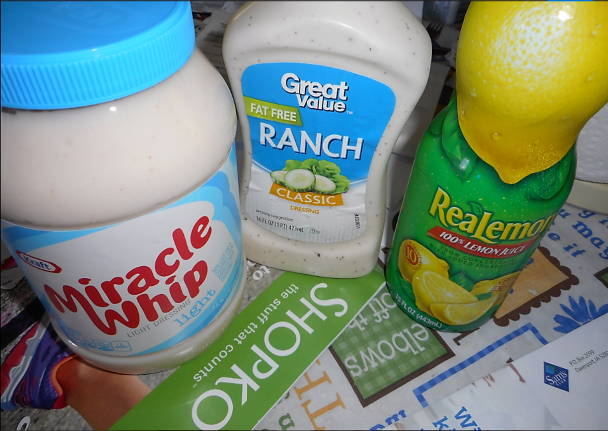 Miracle Whip, ranch, and lemon for the sauce.