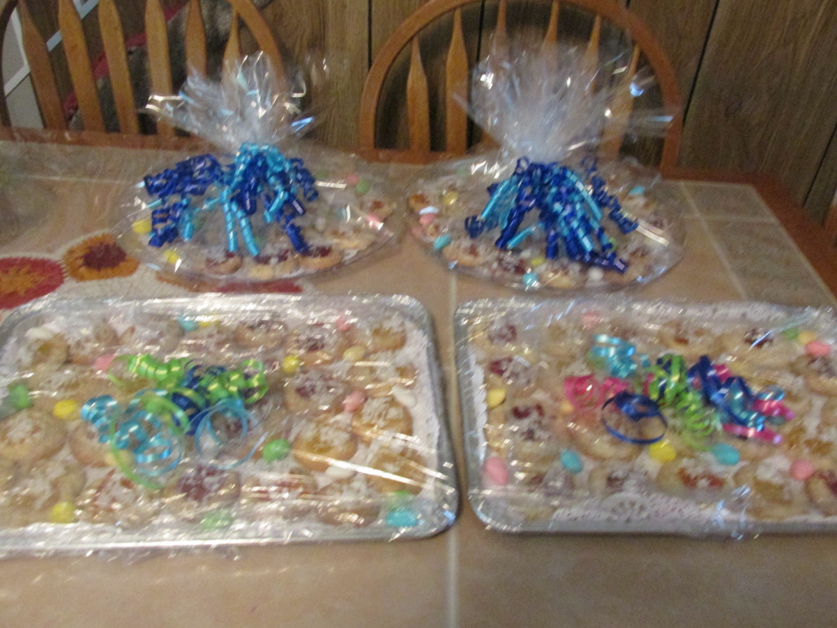 Cookie trays all wrapped up and ready to go to the shower.