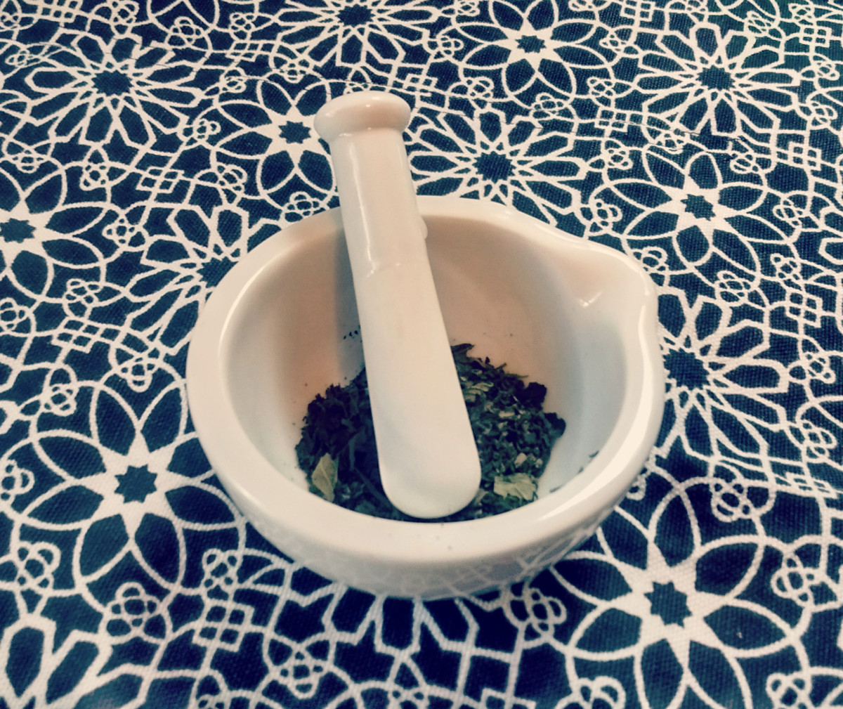 Step 3: Grind the mint. I used a mortar and pestle, but if I was grinding a lot, I may try a coffee or herb grinder.