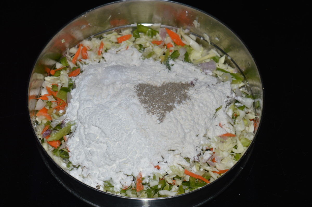 Step two: Combine the Veggies with the flours and spice powders as per instructions. Make a soft dough out of it.