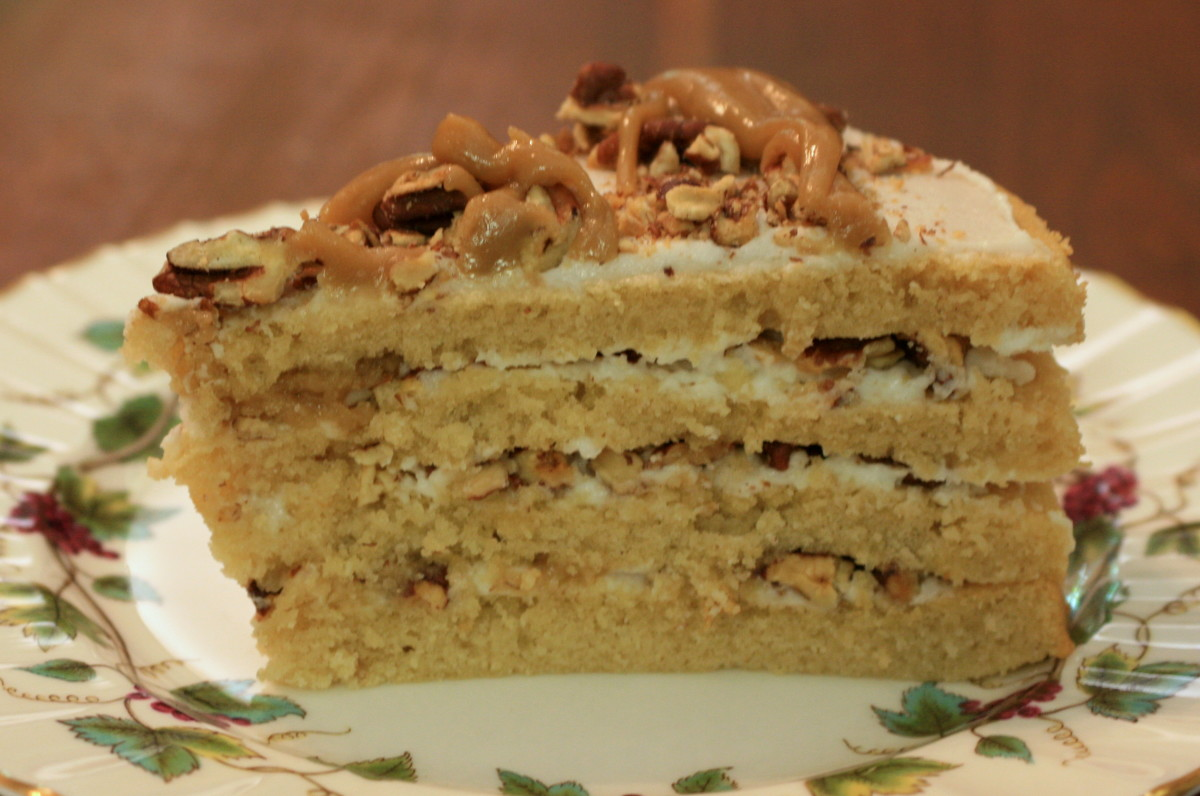 Sweet Southern Gal Cake: four layers of nut-and-caramel-laden goodness!