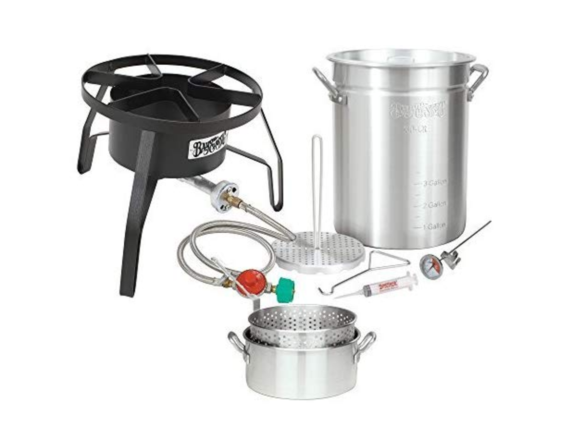 This complete turkey frying set will produce an excellent fried turkey!
