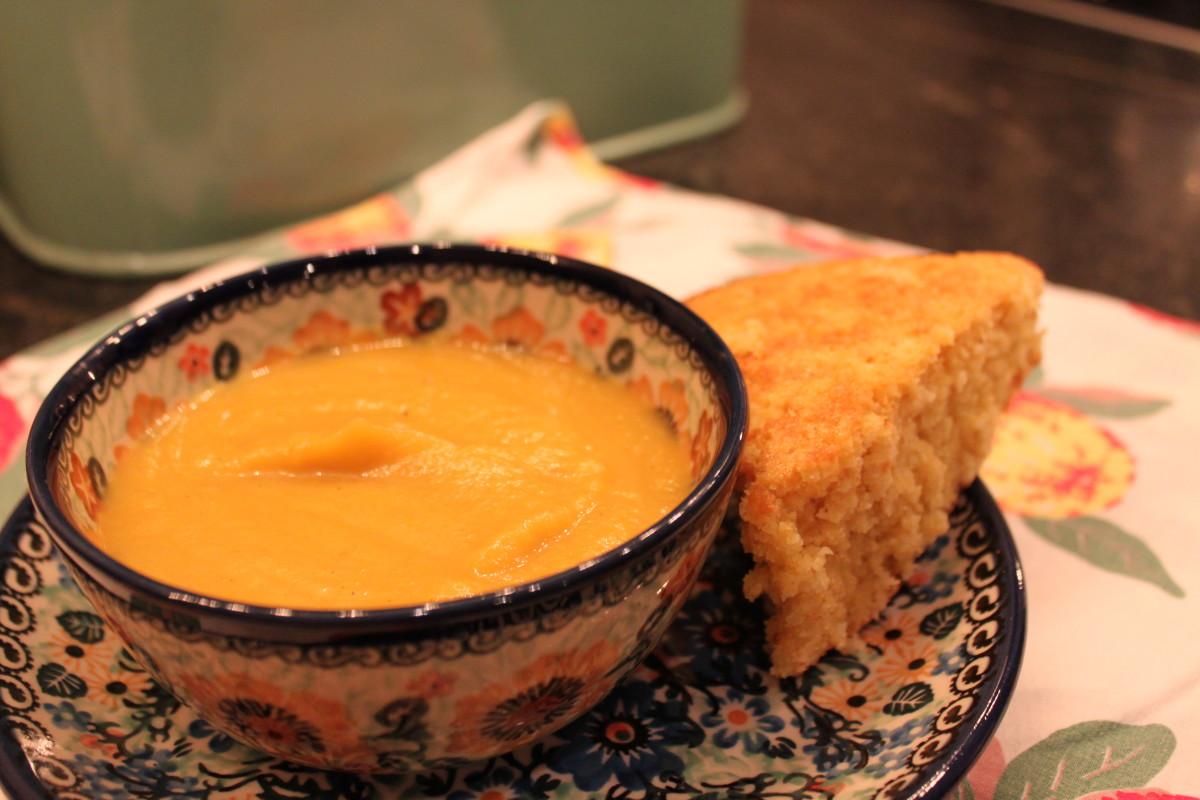 Savory Pumpkin Soup And Cornbread