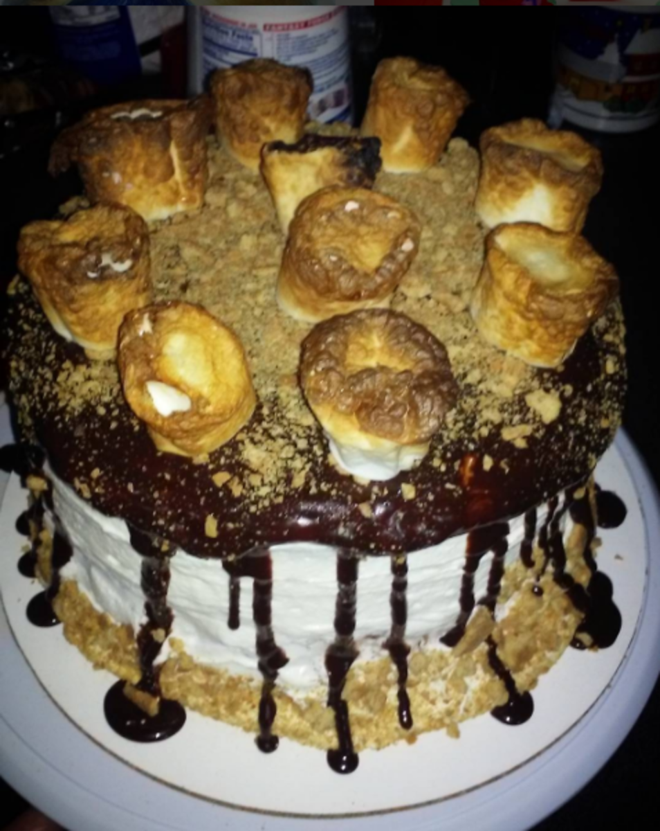 "The ""Oh So Decadent"" S'mores cake, made with this vanilla base."