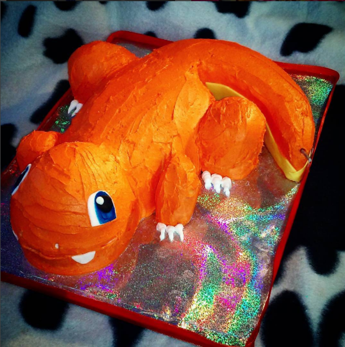Perfectly Carvable: I used the perfect vanilla recipe to carve this Charmander cake.