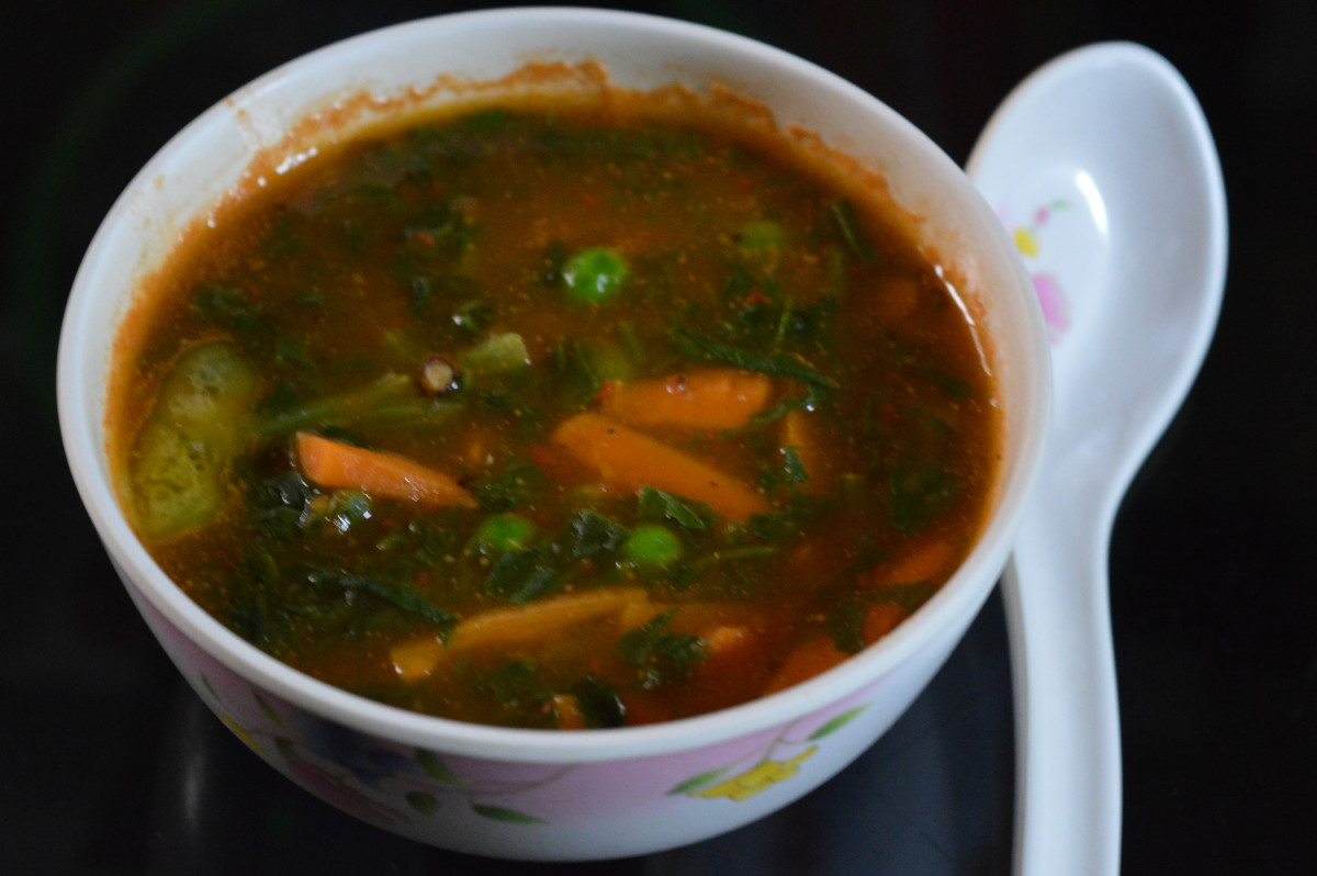 Spinach and vegetable soup