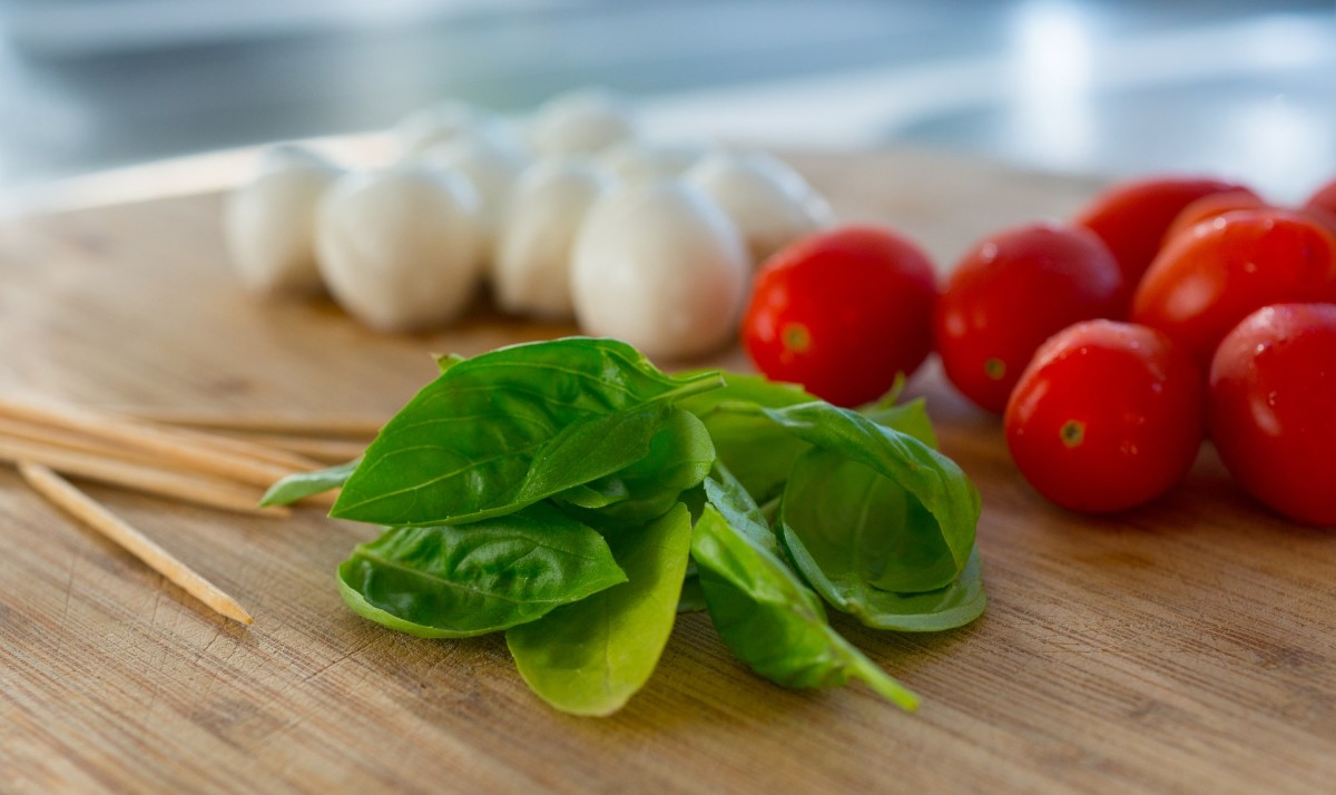 Fresh mozzarella, tomatoes, and basil.