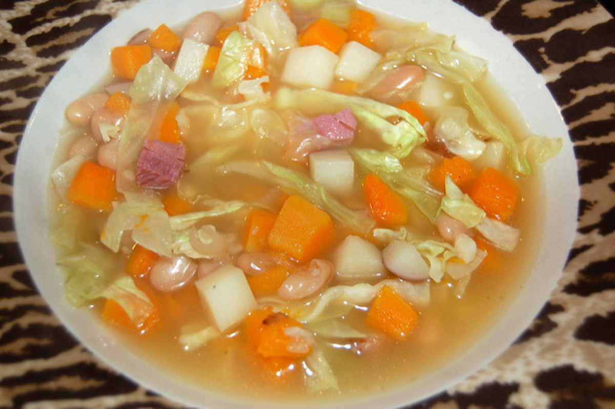 cabbage, ham, and bean soup