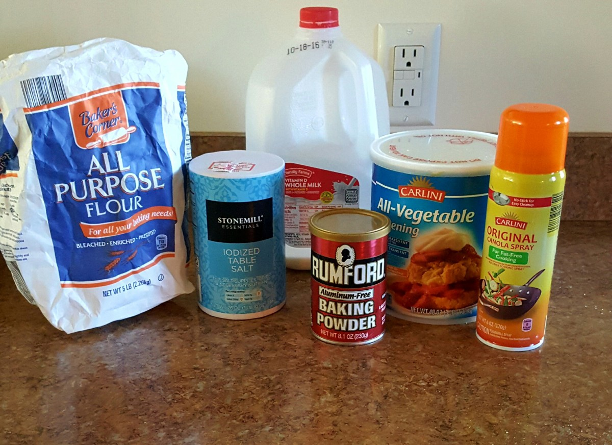 Ingredients for homemade old-fashioned biscuits.