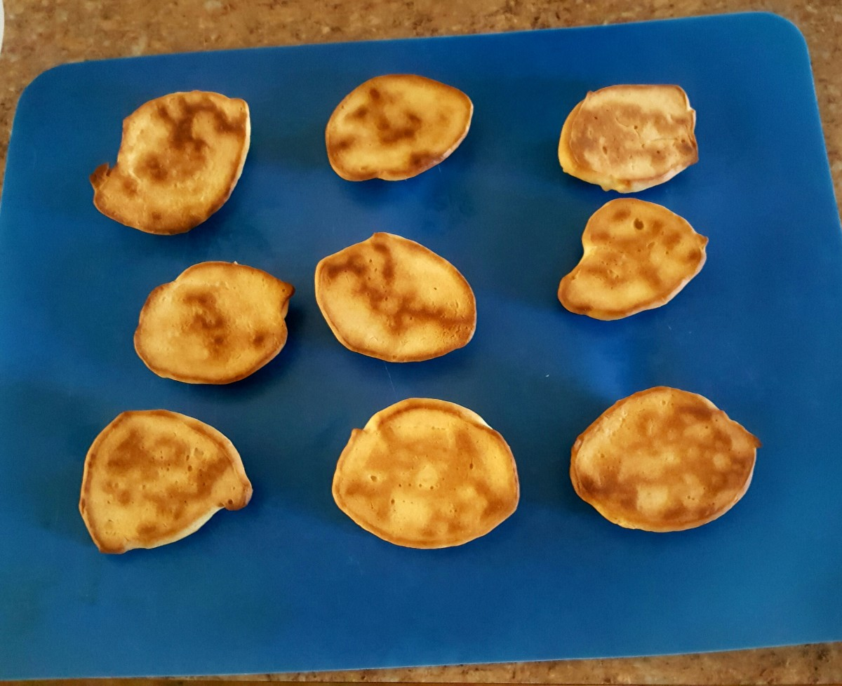 Cooked biscuits cooling.