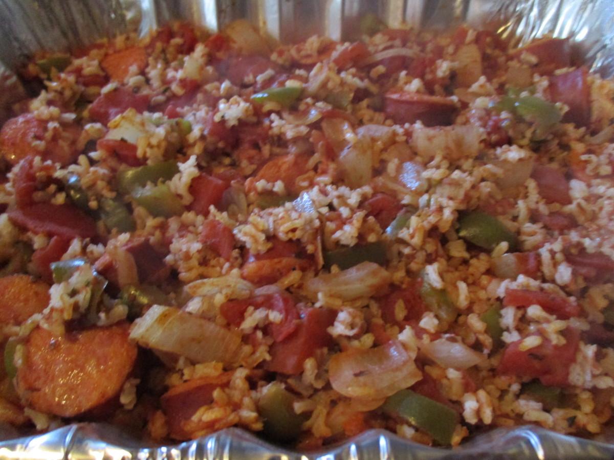 moms-cooking-rice-and-kielbasa