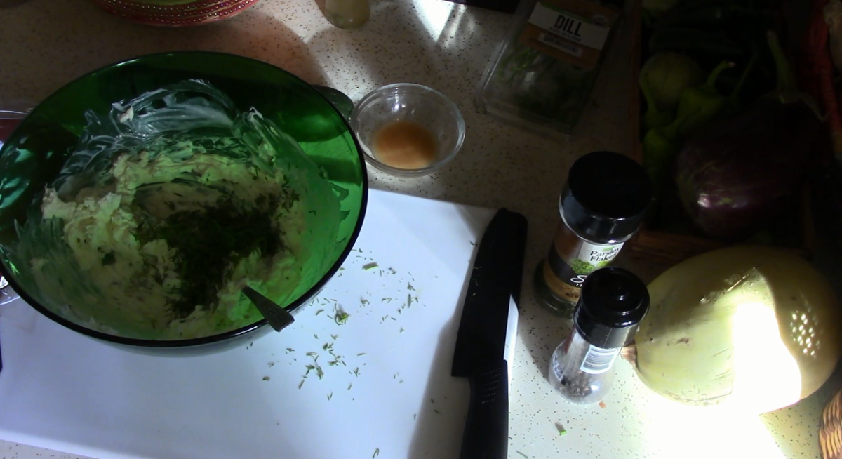 Add the chopped dill, salt and pepper to taste (go easy on the salt) and the parsley.  Add the lemon juice and mix well.