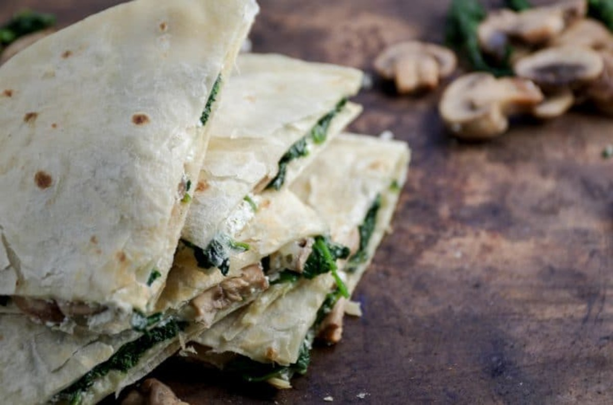 Spinach-Mushroom-Goat Cheese Quesadillas