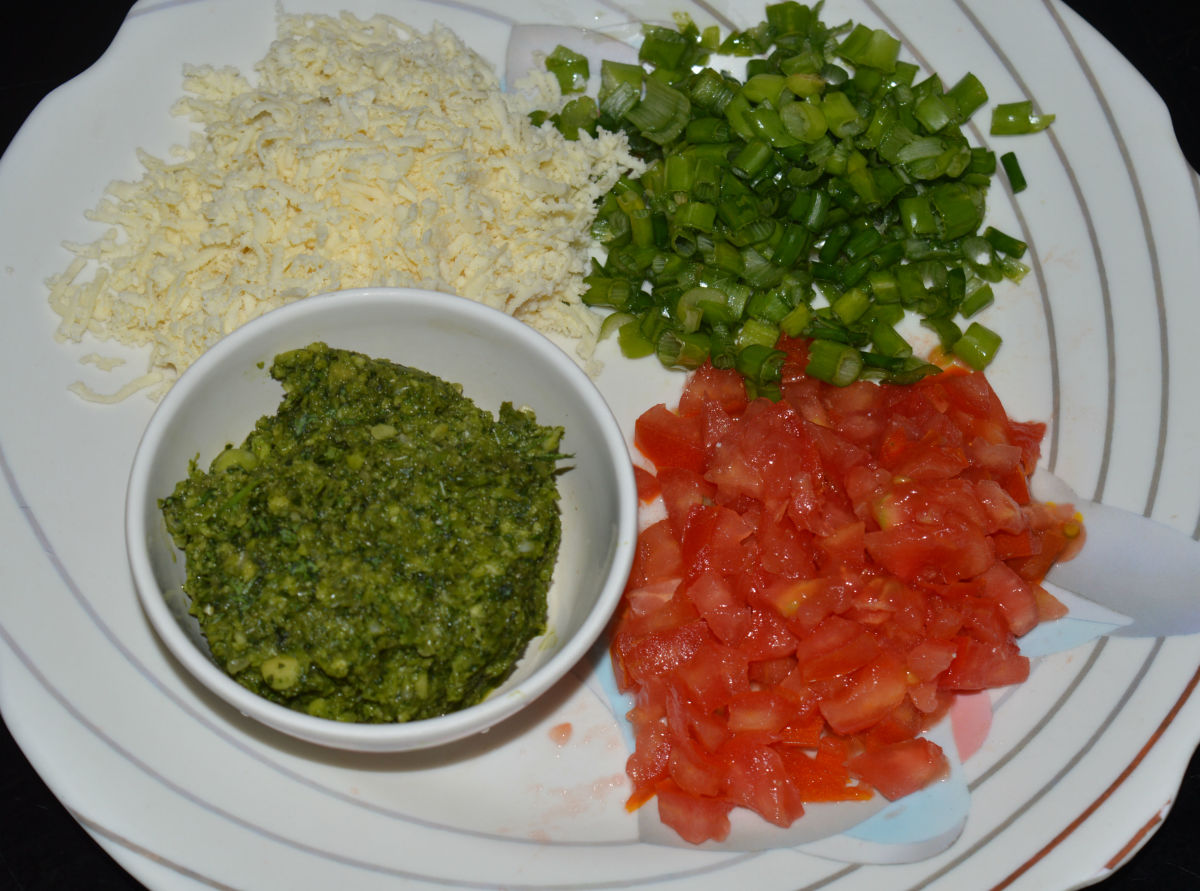 Chop your filling ingredients and separate the prepared items into bowls.