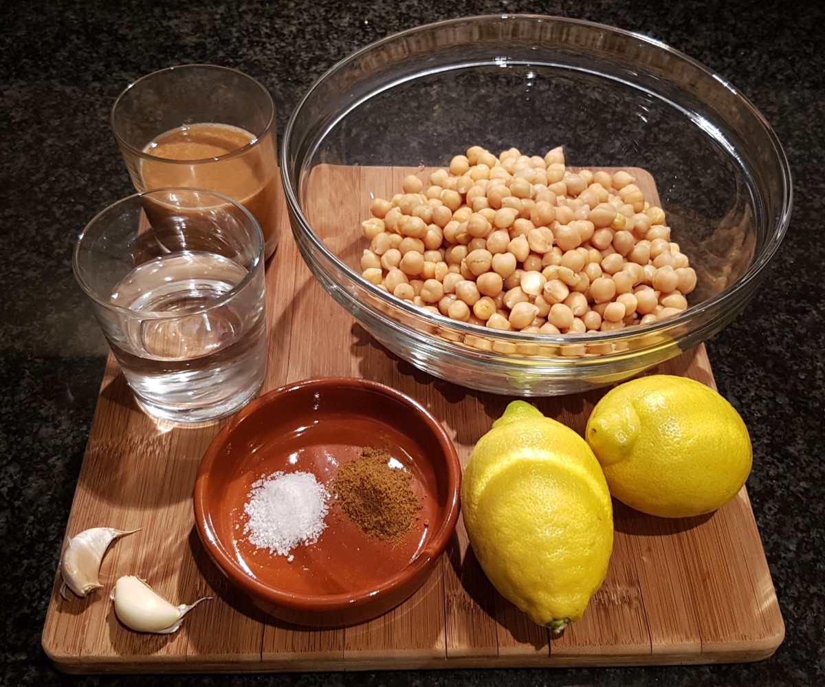 Hummus ingredients. Note: I doubled up the ingredients in this picture to make twice as much hummus