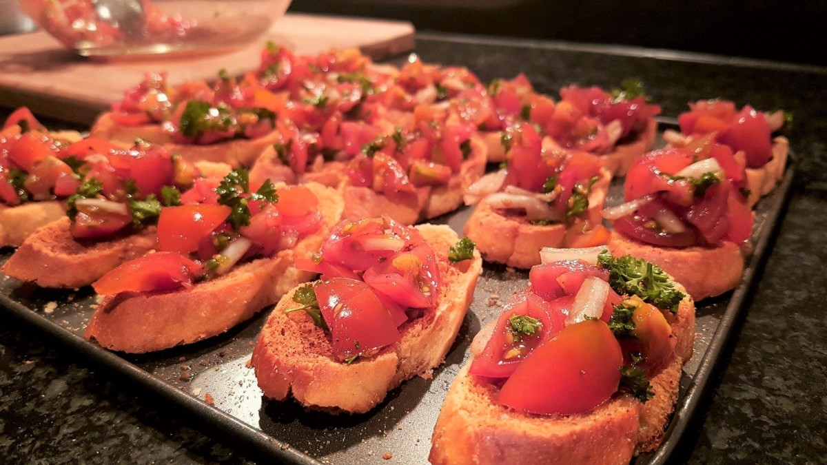 I like to have this bruschetta for brunch on the weekend with some smoked salmon.