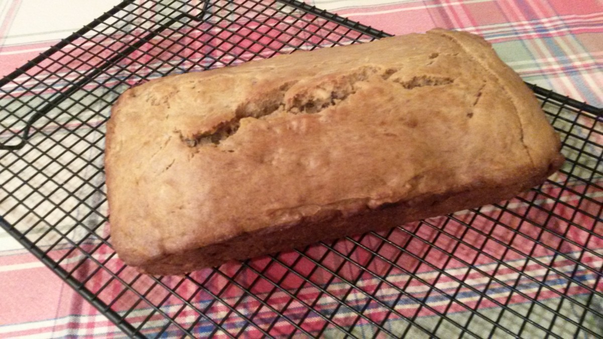 Banana walnut bread on wire cooling rack.