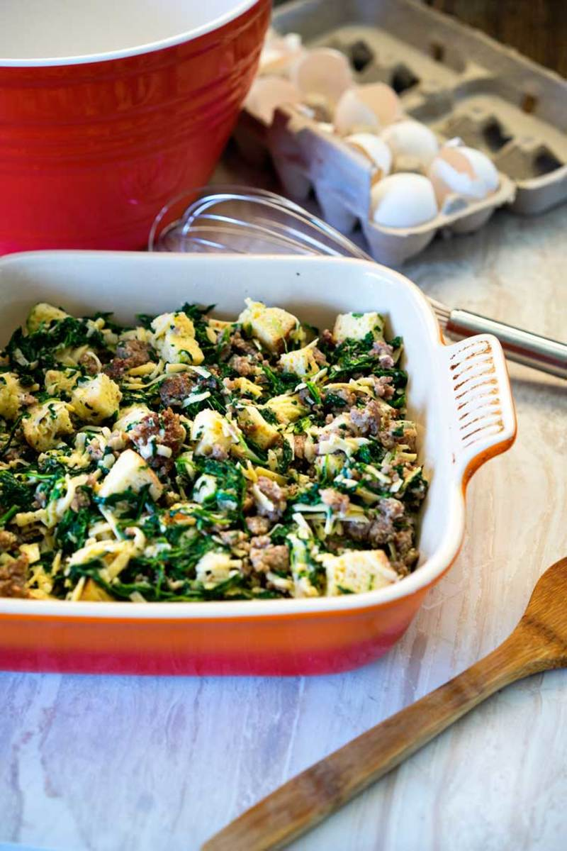 Italian sausage, gouda, and spinach strata.