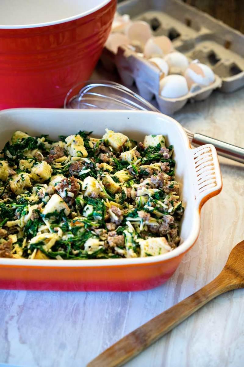Italian sausage, gouda, and spinach strata.