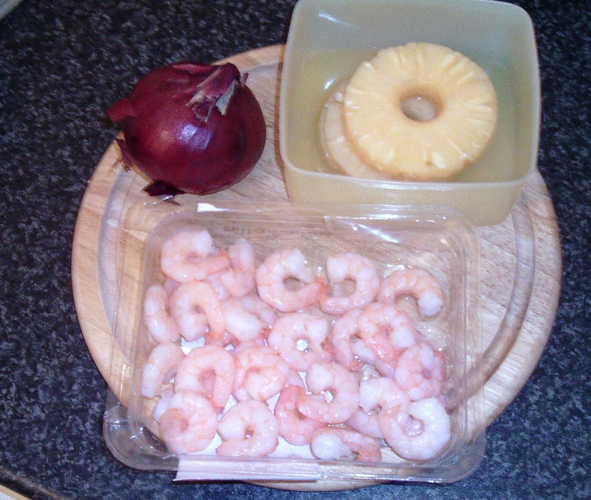 Red onion, pineapple and king prawns