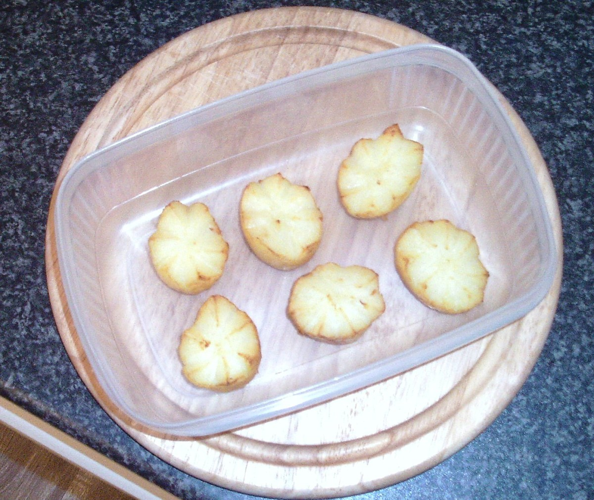 Once fried potato crowns are returned to the fridge