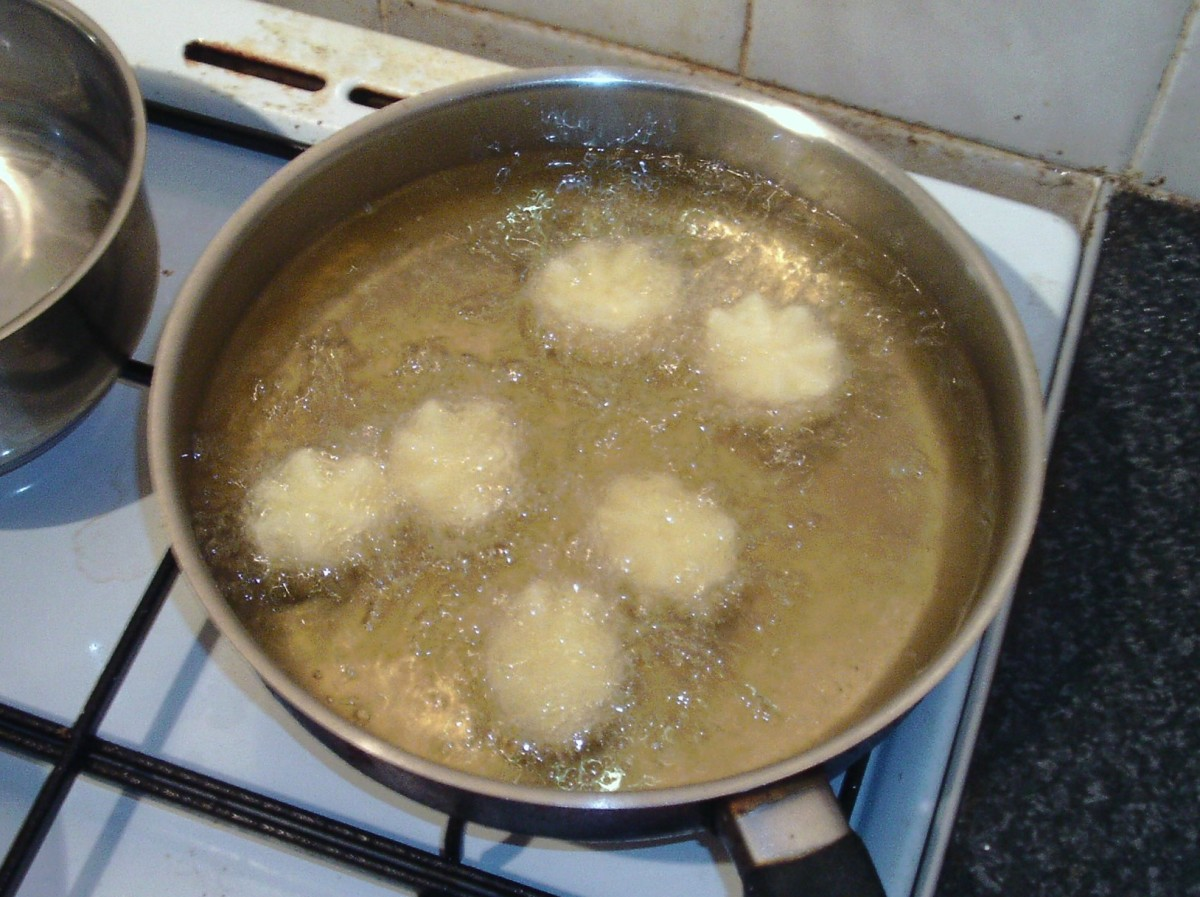 Potato crowns are deep fried in oil