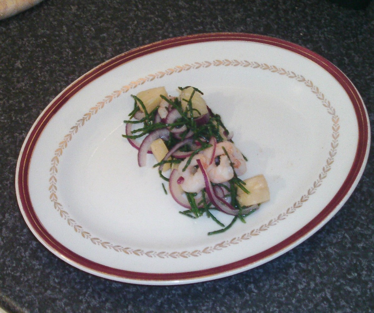 King prawn, samphire and pineapple salad is plated