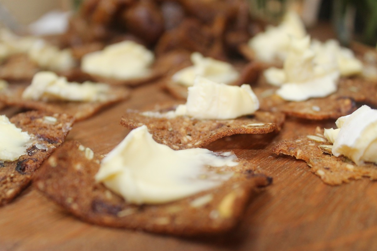 brie spread on some really good artisanal crackers