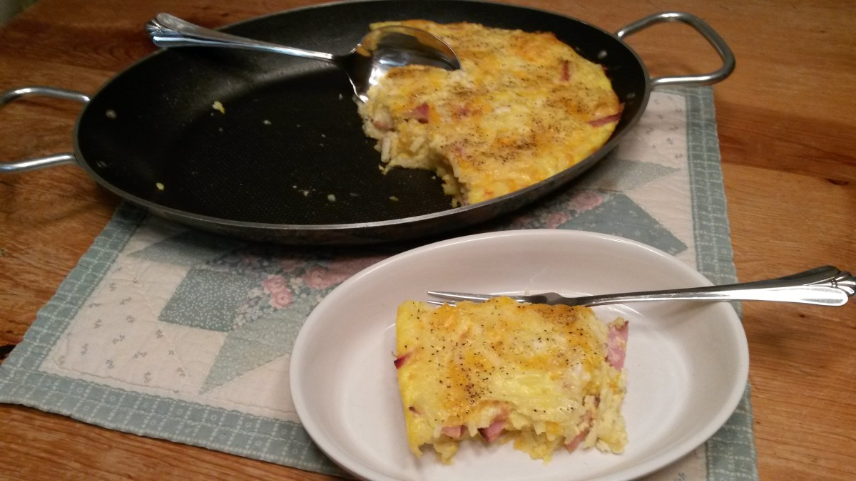 Breakfast bacon casserole being served.