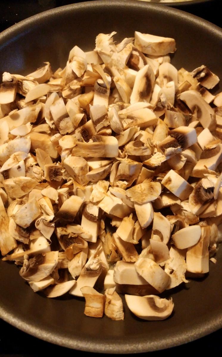 Mushrooms going in the pan