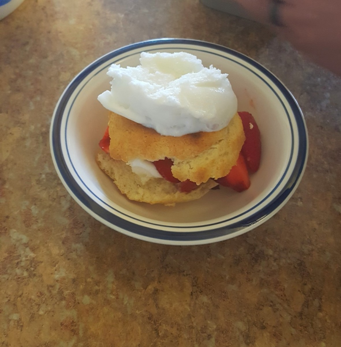 Place the other shortcake half on top and add a scoop of frozen yogurt.