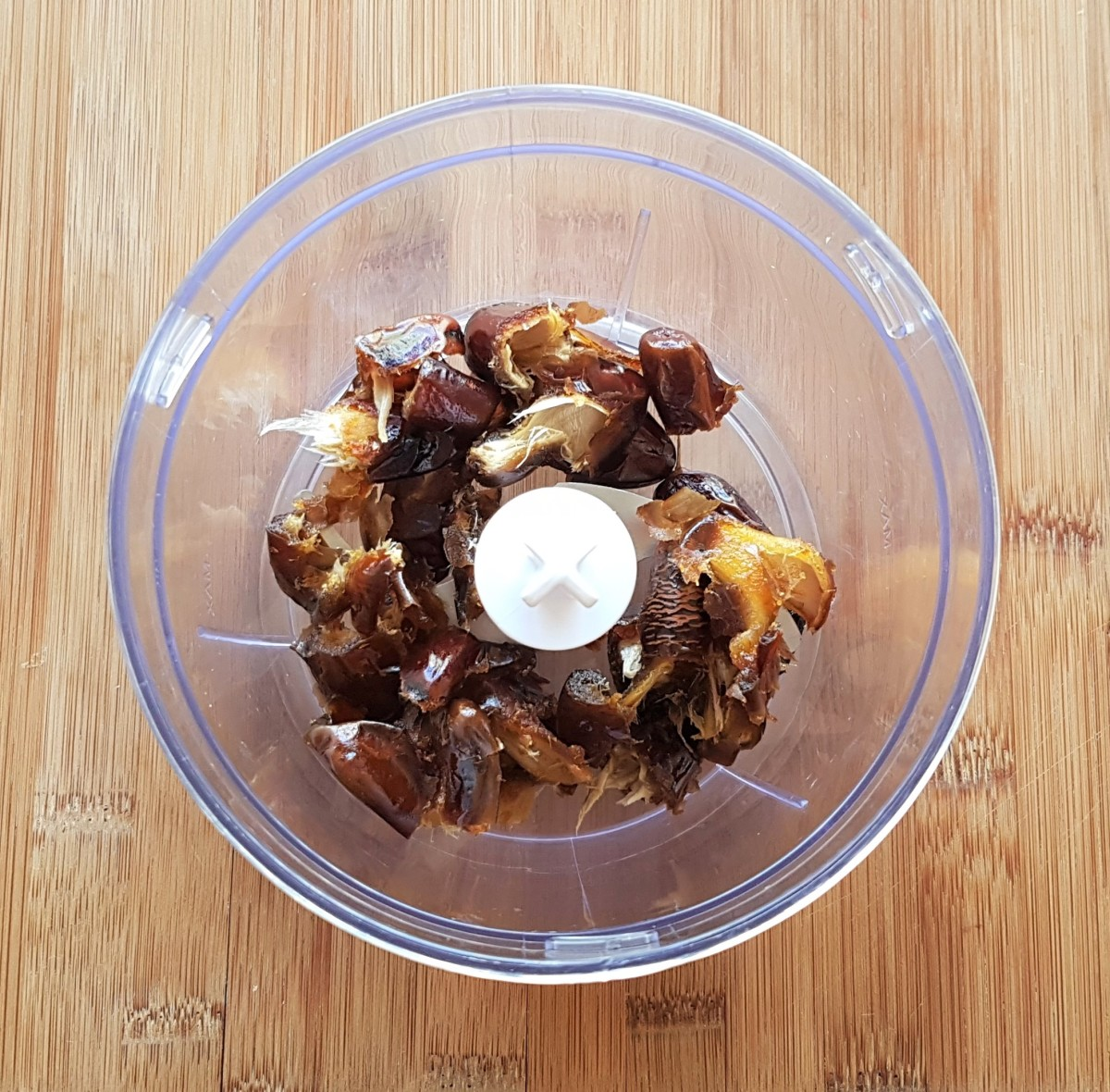 Be sure to remove the pits from your dates before adding them to your food processor.