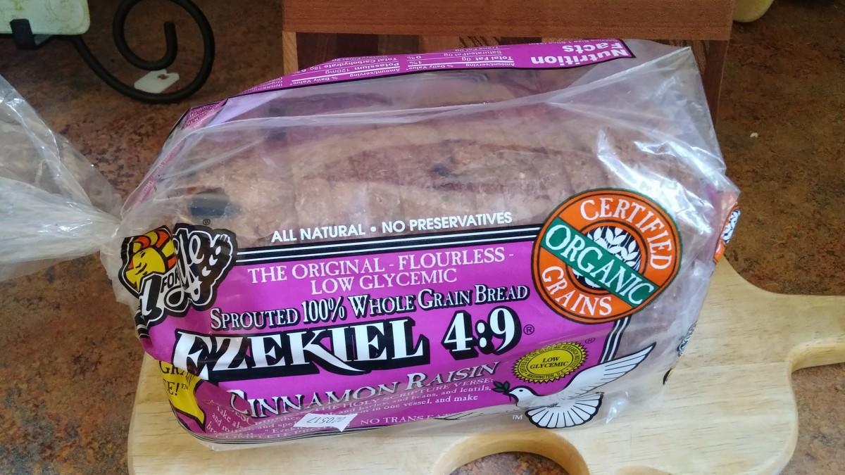 Ezekial 4:9 cinnamon raisin bread is my favorite gluten-free, sprouted grain bread.