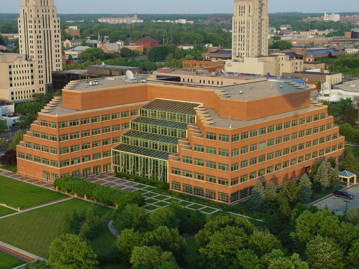 Kellogg World Headquarters, Battle Creek, Michigan, USA as it is today.  Building designed by Hellmuth, Obata and Kassabaum
