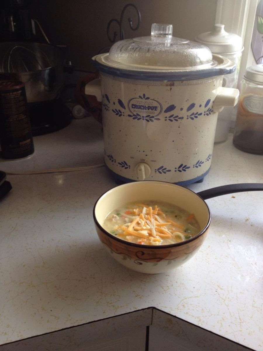 Finished cream of chicken soup.