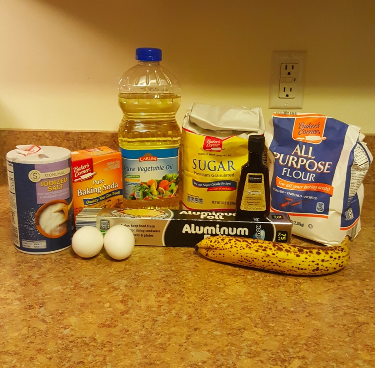 Ingredients for delicious homemade banana muffins.