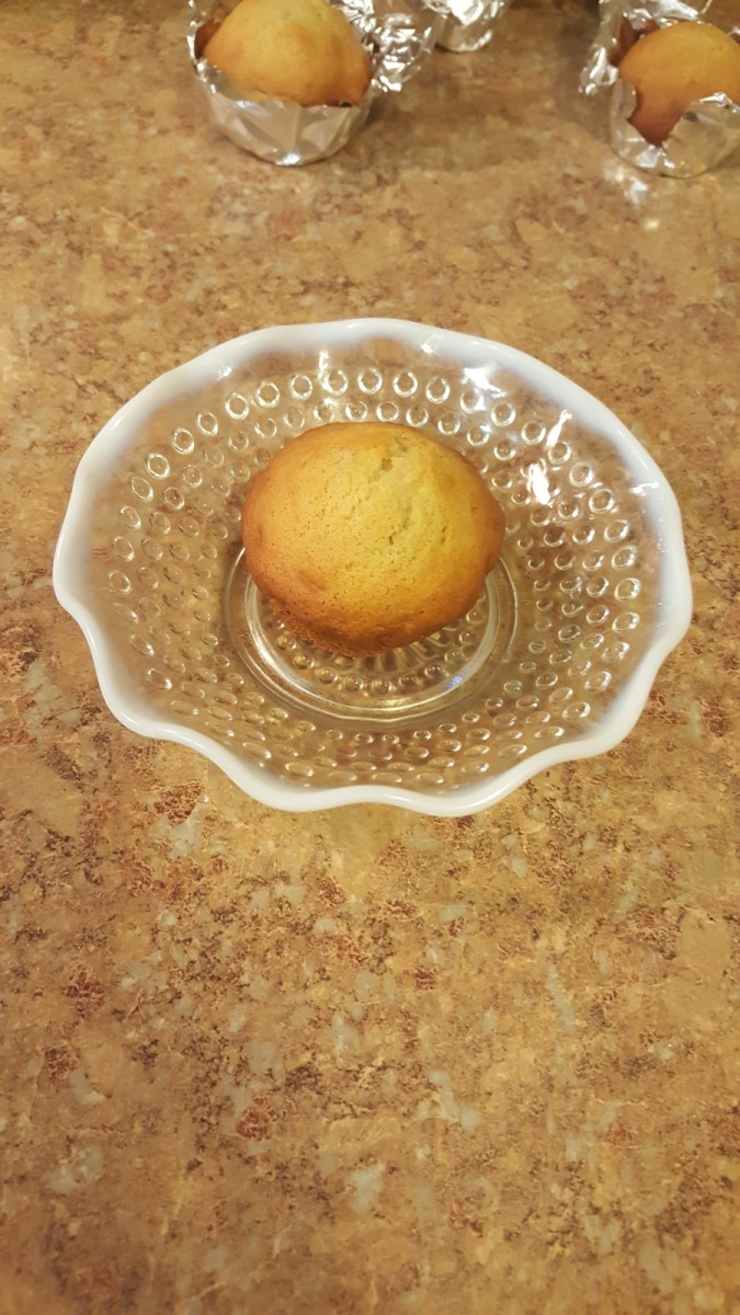 A banana muffin ready to eat!