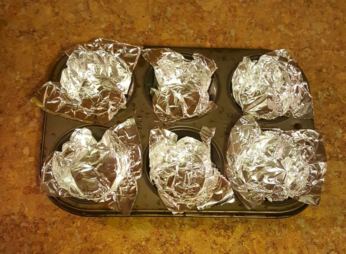 Lined muffin pan.
