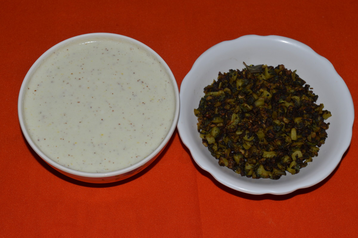 Sauteed bitter gourd and coconut-curd mix.