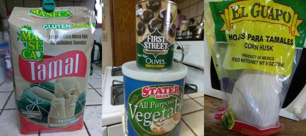Some key ingredients: masa mix, black olives, vegetable shortening and corn husks.