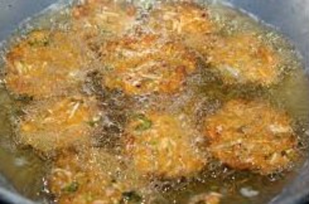 Deep frying the raw cabbage fritters