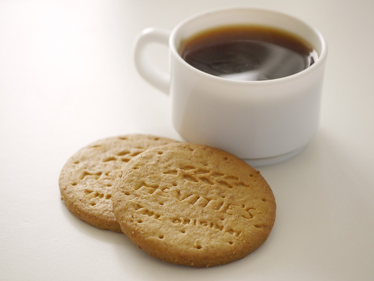 Some people like to drink biscuits with coffee.