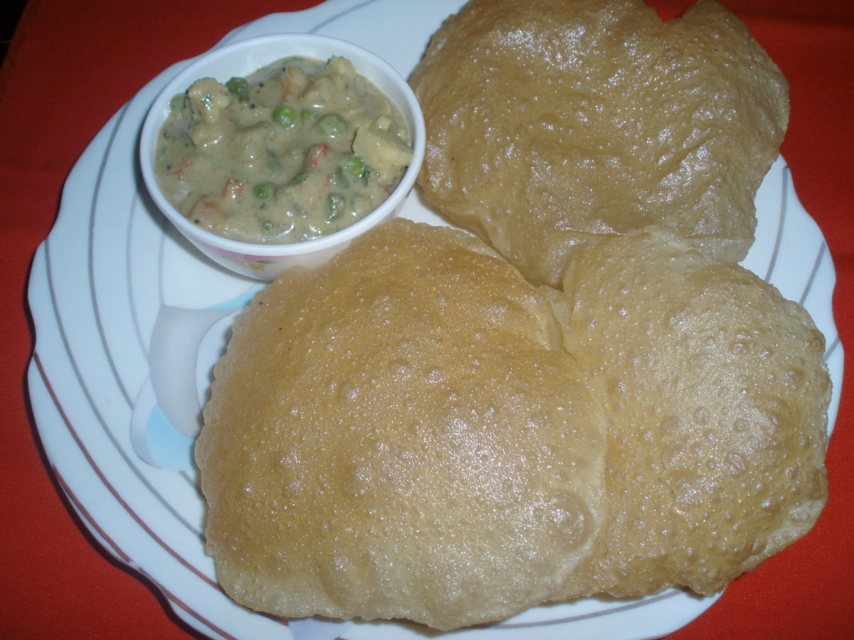 Poori and Saagu(curry) made by me a few days back..