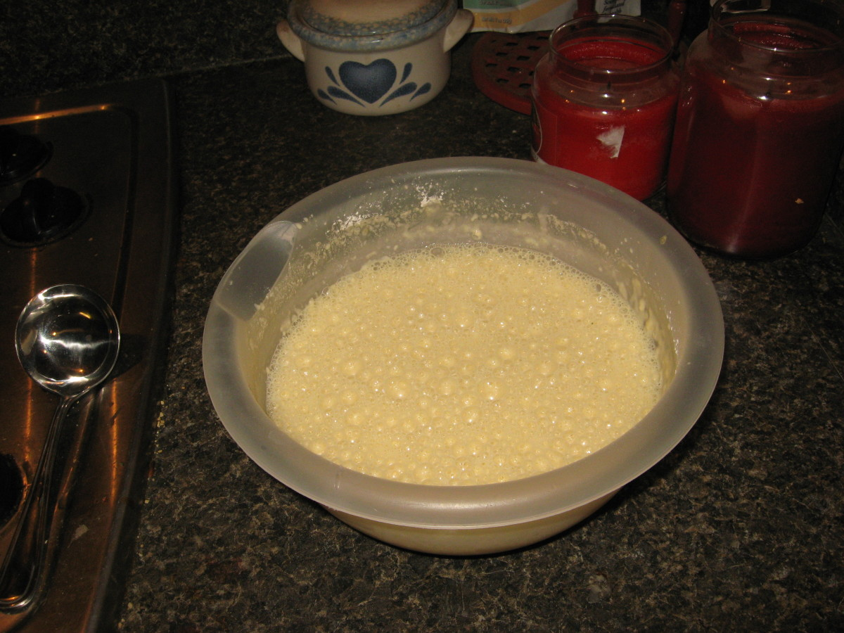 Get air into your batter! It should be foamy, with air bubbles on top.