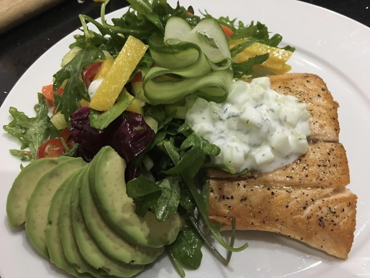 Mediterranean Beet Salad and Seared Salmon with Tzatziki Sauce