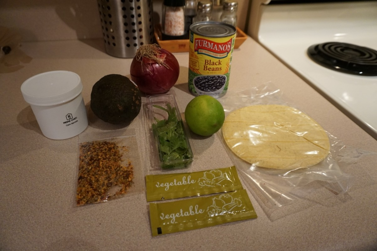All the ingredients that came in the box for two servings.